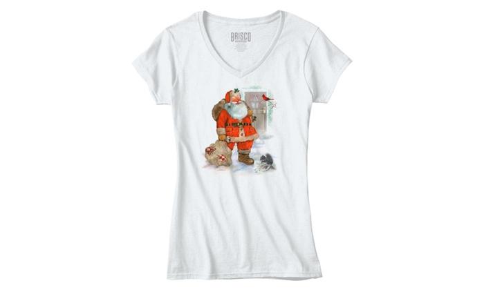 Santa Delivering Toys on Christmas - Junior Fitted V-Neck T-Shirt