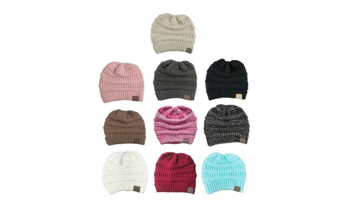 8b5cde799 BeanieTail Soft Stretch Cable Knit Messy High Bun Ponytail Beanie ...