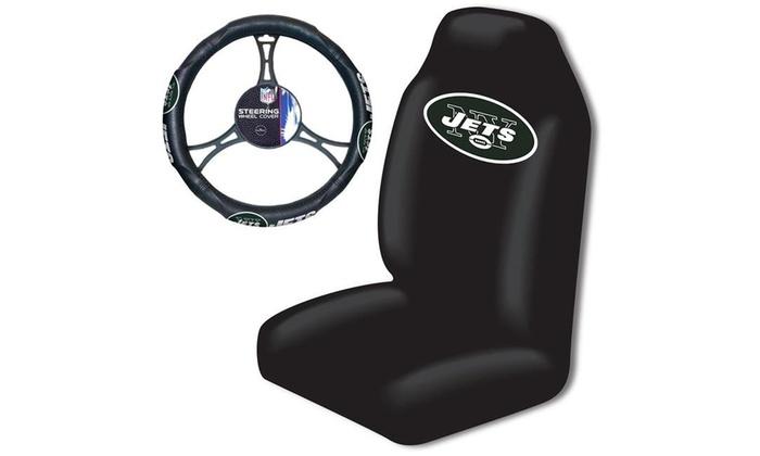 Northwest 1NFL111000015RET New York Jets NFL Car Seat Cover Steering Wheel Cov