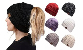 Women's Ponytail Messy Bun BeanieTail Solid Ribbed Hat